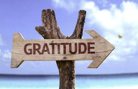 Segno di gratitudine con la freccia su sfondo spiaggia Archivio Fotografico - 61944667