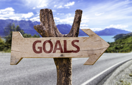 personal perspective: Goals sign with arrow on road background Stock Photo