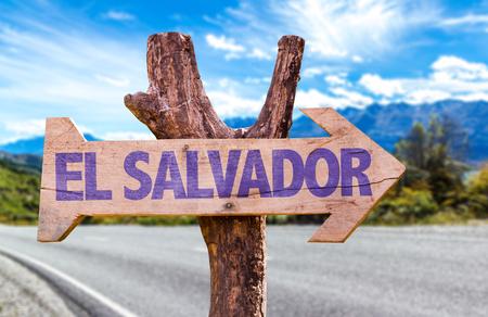 El Salvador sign with arrow on road background