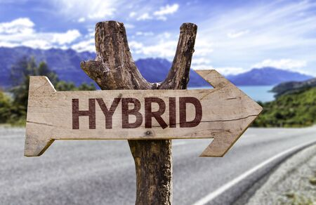 Hybrid sign with arrow on road background