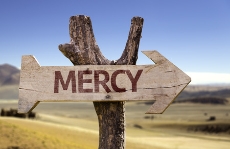 Mercy sign with arrow on desert background