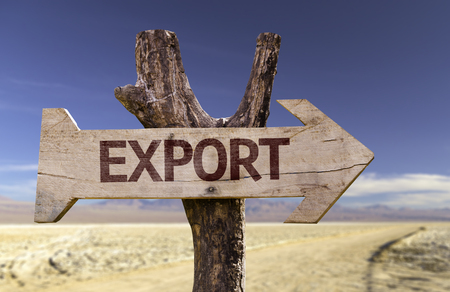 industrialization: Export sign with arrow on desert background Stock Photo