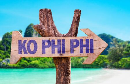 ko: Wooden sign board in wetland with text: Ko Phi Phi