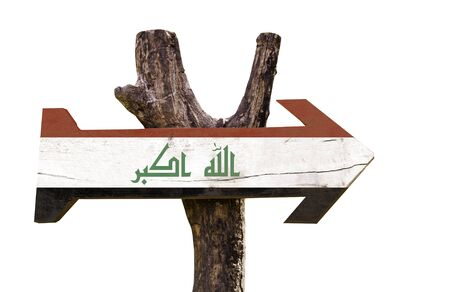 Iraq flag wooden sign board on white background