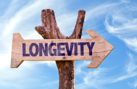 Longevity sign with clouds and sky background