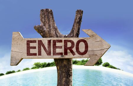 Enero (January in Spanish) sign with beach background