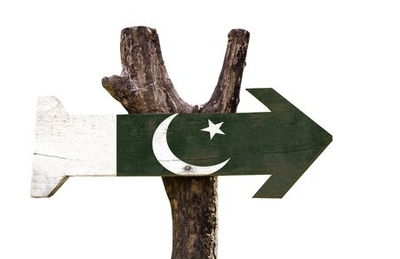 Pakistan flag wooden sign board on white background
