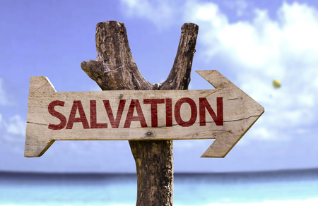 redemption: Salvation sign with arrow on beach background