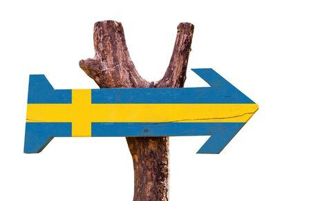 Sweden flag wooden sign board on white background