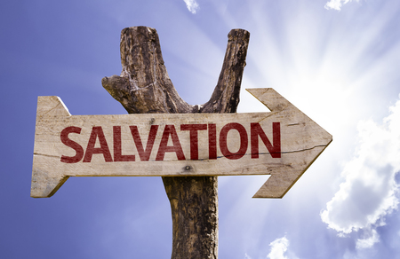 the salvation: Salvation sign with arrow on sunny background