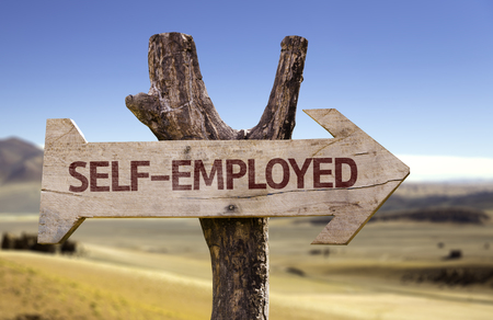 selfemployed: Self-employed sign with arrow on desert background