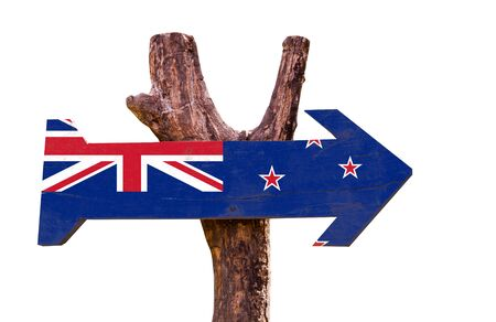 new zealand flag: New Zealand flag wooden sign board on white background