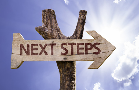 Next steps sign with arrow on sunny background