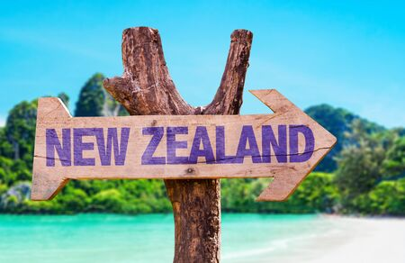 arrow sign: Wooden sign board in wetland with text: New Zealand Stock Photo