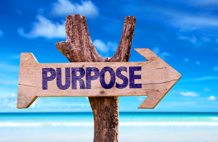 Purpose sign with arrow on beach background Stockfoto