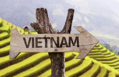 pa: Vietnam sign with arrow on Sa Pa background Stock Photo