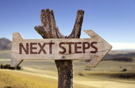 Next steps sign with arrow on desert background