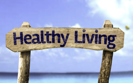 Healthy living sign with sea background