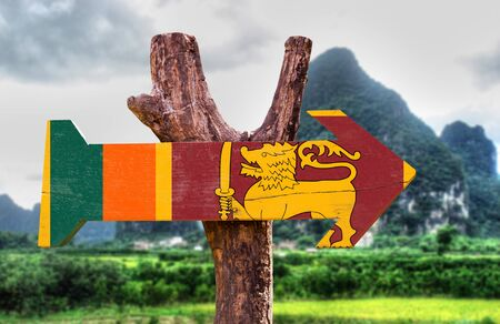 Sri Lanka flag sign with arrow on nature background