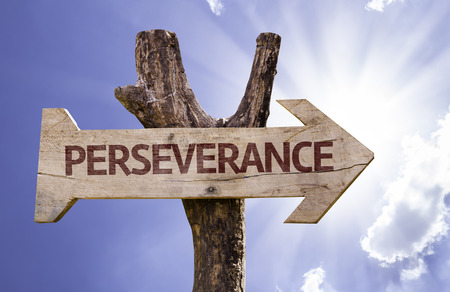 Perseverance sign with arrow on sunny background