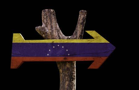 bandera de venezuela: bandera de Venezuela tablero de la muestra de madera sobre fondo negro