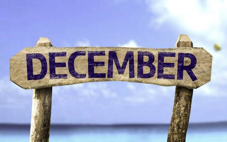december: December sign with sea background Stock Photo
