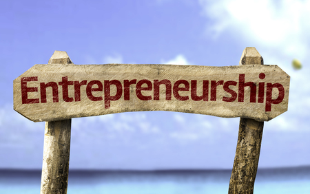 Entrepreneurship sign with sea background
