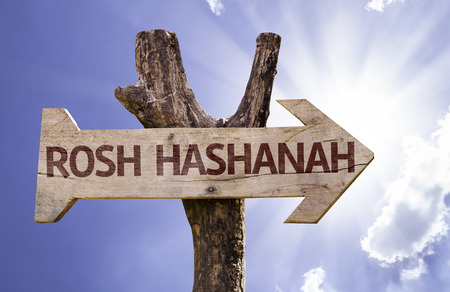 Rosh Hashanah (New Year in Hebrew) sign with arrow on sunny background