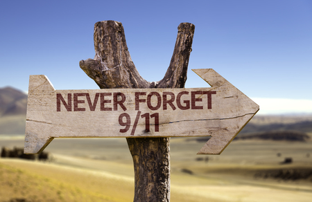 Never forget 911 sign with arrow on desert background Stock Photo