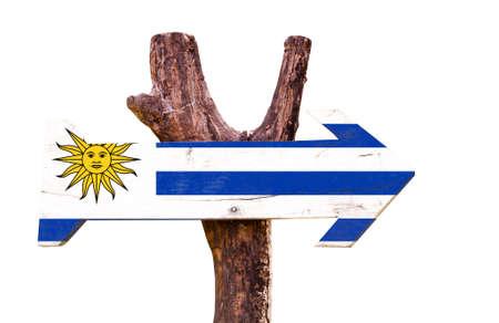 bandera de uruguay: bandera de Uruguay tablero de la muestra de madera sobre fondo blanco Foto de archivo
