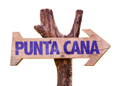 cana: Wooden sign board on white background with text: Punta Cana Stock Photo