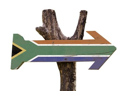 south africa flag: South Africa flag wooden sign board on white background Stock Photo