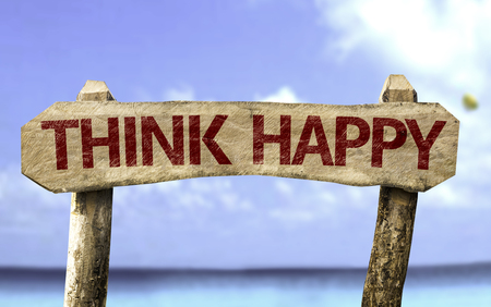 Think happy sign with sea background