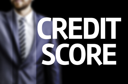 bank records: Business man in black background with the text: Credit score
