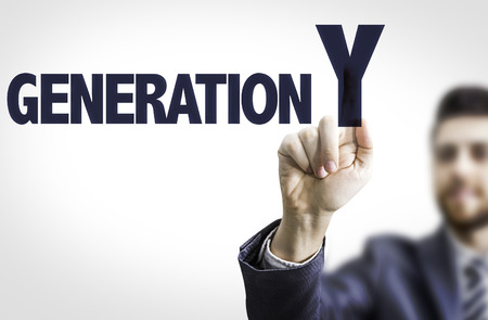 generation y: Business man pointing the text: Generation Y