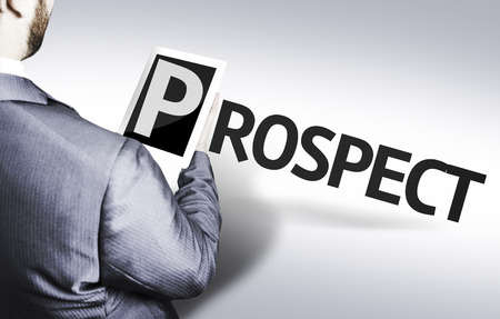 prospector: Businessman with Tablet Pc and the text Prospect Foto de archivo