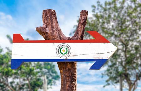 bandera de paraguay: bandera de Paraguay tablero de la muestra de madera en el parque Foto de archivo