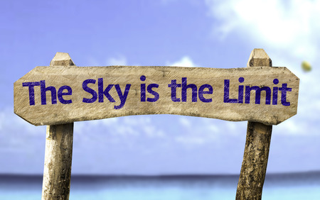 The sky is the limit sign with sea background Stock Photo