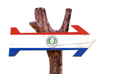 bandera de paraguay: Paraguay flag wooden sign board on white background