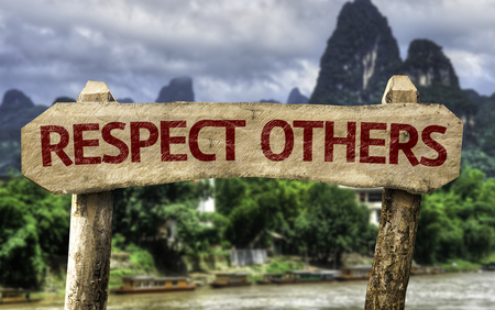 Respect others sign with wetland background