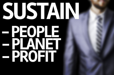 sustain: Business man in black background with the text: Sustain descriptions