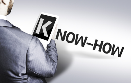 knowhow: Business man in low angle view with the text: Know-how