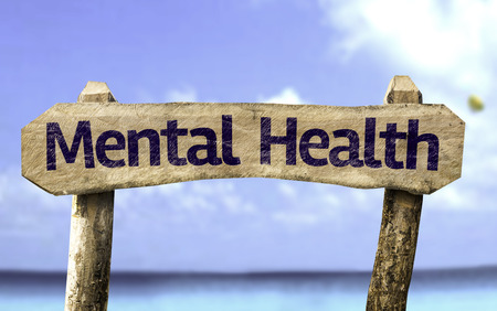 Mental health sign with sea background