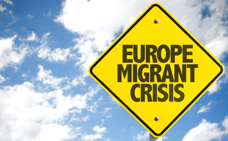 Europe migrant crisis sign with clouds and sky background