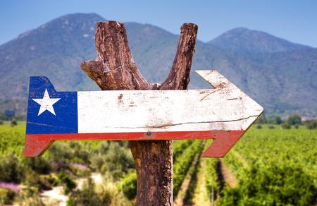 bandera de chile: bandera de Chile tablero de la muestra de madera en el parque Foto de archivo