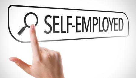 selfemployed: Hand searching online on white background with text: Self-employed