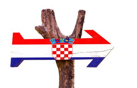 bandera croacia: Croatia flag wooden sign board on white background Foto de archivo