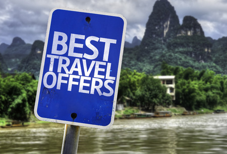 best guide: Best travel offers sign with wetland background Stock Photo