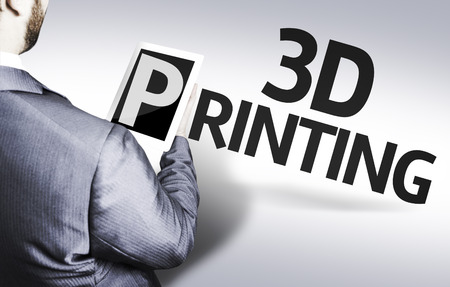 text 3d: Business man in low angle view with the text: 3D printing