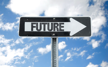 future sign: Future sign with clouds and sky background